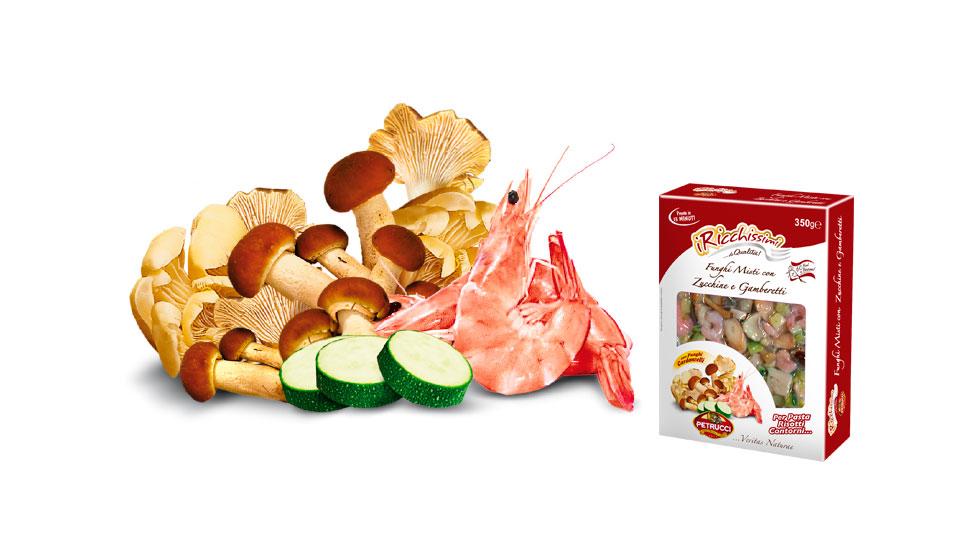 Funghi misti con Zucchine e Gamberetti   I Ricchissimi   Petrucci